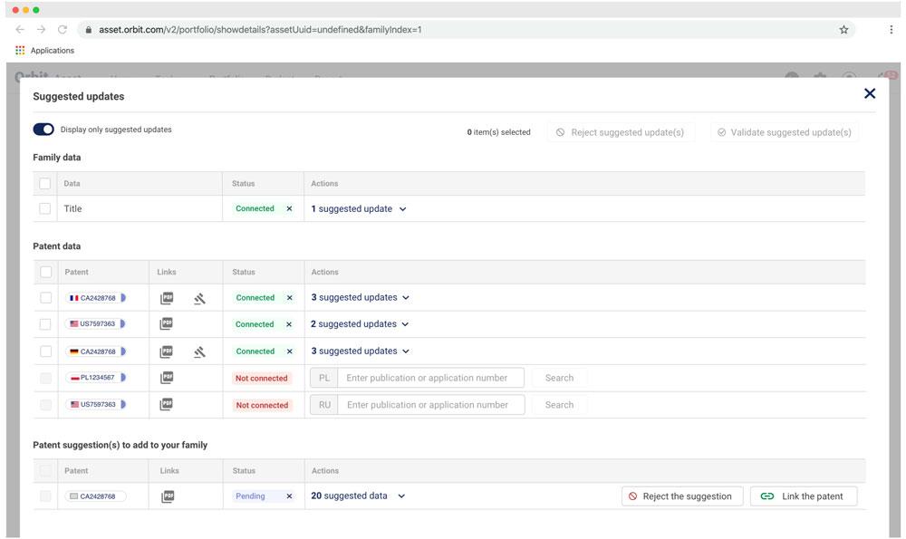 Automatische Aktualisierung von Patent- und Markendaten